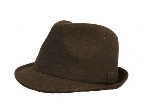 Brown 1940s style Tweed Wool blend  Trilby